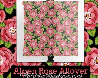 Pretty Alpen Rose Pink Floral Scarf Chiffon 55 inches square watercolour flower textile pattern by designer Patricia Shea