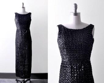 1950's sequin dress. bombshell. 50 black dress. pinup. long. s. 60's wiggle dress.