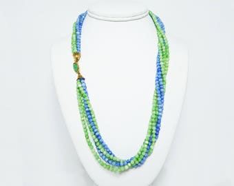 Blue and Green Beaded Necklace - Opera Length 22 inches - Tested Gemstones - Multi Strand Necklace - Vintage 1970's 1980's - Five Strands