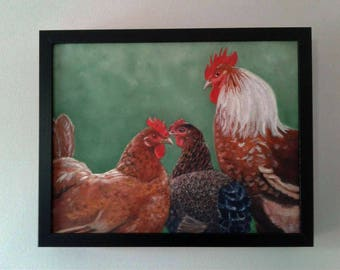 Rooster Painting Framed Rooster Art Chicken Painting Rooster Art Whimsical Farm Art Hen Painting  Kitchen Decor Karen Snider Free Shipping