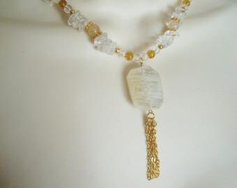 Quartz Necklace, boho jewelry bohemian jewelry hipster jewelry gypsy jewelry hippie necklace new age moroccan metaphysical boho necklace