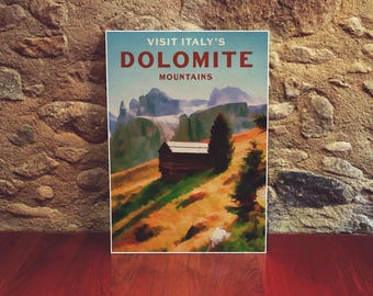 Italy 12x18 Poster Art Print Colorful Art Poster Dolomite Mountains Alps Landscape Print European Travel Poster Mountain Art