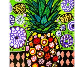 Hawaiian Pineapple by Heather Galler Original Painting American Folk Art Oahu Hawaii - Palmtree Beach Ocean City