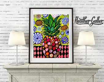 Hawaiian Pineapple Art Print Poster of Painting by Heather Galler Tropical Fruit Hawaii Islands Floral