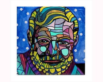 Ernest Miller Hemingway Book Lover Tile by artist Heather Galler  American novelist, short story writer, and journalist