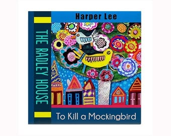 To Kill a Mockingbird Book Lover Art Tile by artist Heather Galler Harper Lee Woman Author Pulitzer Prize Winner Novel
