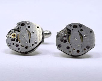 Stunning oval watch movement cufflinks ideal gift for a wedding, birthday or anniversary 79