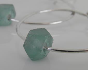 Large Sterling Silver Hoop Earrings, Recycled Glass Earrings Aqua Sea Glass Handcrafted Earrings, Silver Hoops, Chunky Sterling Silver Hoops