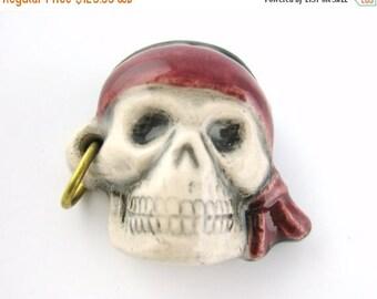 75% OFF - 16pcs Pirate Skull Beads - Pirate Charm Skull Pendant - Painted Skull Charm Bandana Gold Hoop Earring Ceramic Halloween Charm E90