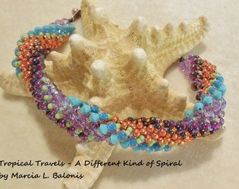 KIT and Pattern Tropical Travels- A different kind of spiral with crystals and seed beads Tutorial