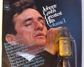 "ON SALE Johnny Cash Vinyl Record Album 1970s Country Western Roots Gospel Stereo ""Greatest Hits, Vol.1"" (1970's Columbia re-issue w/""Ring Of"