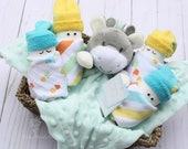 Baby gift basket, Baby shower gift, Gender neutral baby, gift basket, baby security blanket, baby gift set, gift for gender neutral baby