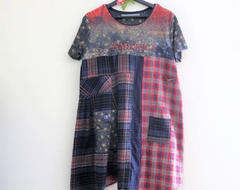 Tshirt dress, plaid shirt dress, patriotic clothes, American flag clothing, Upcycled clothing, fourth of July shabby clothes funky patchwork