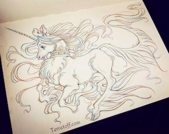 "Junicorn #2 ""Moonlight Run"" - Original Drawing on Moleskine ORIGINAL OOAK Art"