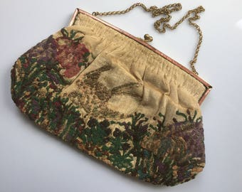 Teens to 1920s antique handpainted velvet evening frame purse or bag with birds - iridescent beads - highly unusual!