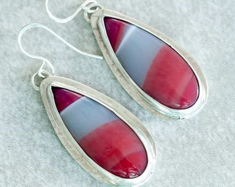 Agate Earrings Red Gray Banded Agate Dangle Earrings in Sterling Silver Handmade