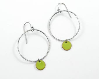 Large Enamel Charm Sterling Silver Circle Earrings