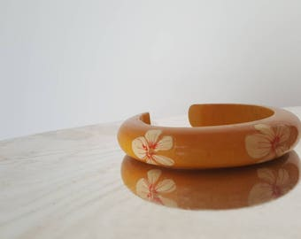 Hand painted wood bangle