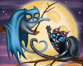 SALE Batcat and Catwoman - 8x8 art print - Batman cat and Catwoman cat have a love hate relationship in front of a full moon