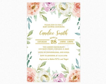 Floral Baby Shower Invitations, Spring Baby Shower Invitation, Botanical, Watercolor Flowers, Printable or Printed