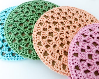 Cork Coasters | Decorative Coasters | crochet coasters | crochet cork coasters | coasters | home decor | decor | summer | Valentine's Day