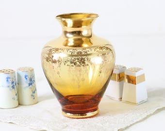 Gold glass vase amber glass vase fleur de lis design