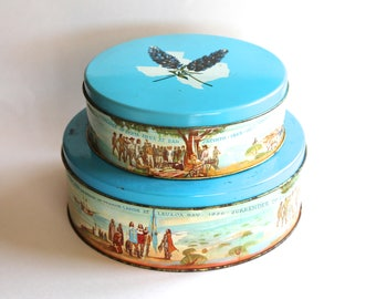 Vintage 1960s Texas History Decorative Tin Canister Lot!