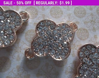 50% OFF Clearance SALE Rose Gold 4 Leaf Clover with Clear Glass Rhinestones - Jewelry Connectors Links Charms Pendants - 20mm x 28mm - 3