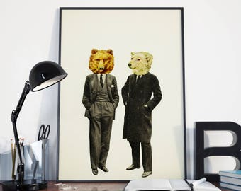 Bear Print, Anthropomorphic Art, Surreal - The Likely Lads