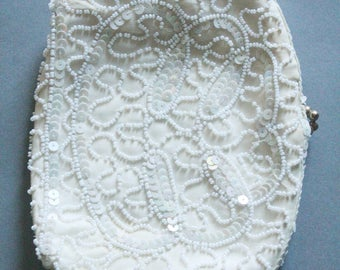Vintage 30's White Glass and Sequin Beaded Satin Clutch Wedding Purse, made in Belguim