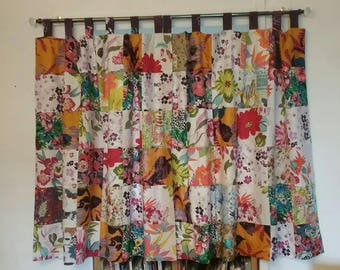Lovely Beautiful Patchwork Curtains Lined Cotton Tab Top Gypsy Decor