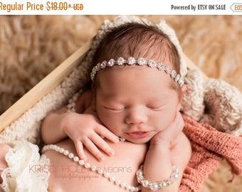 ON SALE Newborn Rhinestone headband, halo headband, bling headband, newborn photography prop