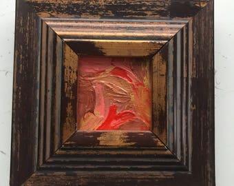 "Framed ""Orange Colored Sky"" Original Acrylic on Canvas (2x2 unframed)"