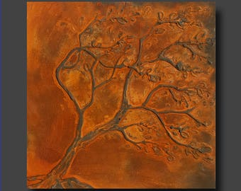 Small Original Painting, Rust Art, Rusty Tree, Textured Tree Painting - Hang or Stand - Rusting Away by Britt Hallowell