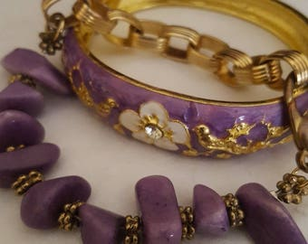 Layers of Purple Vintage Junk Jewelry
