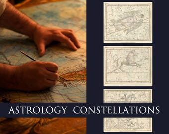 Celestial Charts CANVAS, HAND PAINTED Custom Astrology Constellation Star Map! Antique Painting Art by Fae Factory Artist Dr Franky Dolan