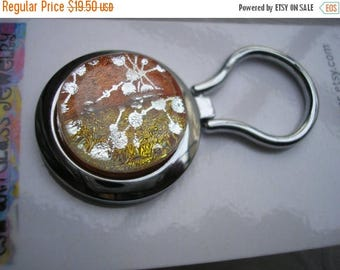 On Sale Nurses Badge Holder Dichroic Glass Mango with Silver Dichro Dots Kiln Fired Glass Magnetic Jewelry Nametag Eyeglass Hanger Brooch Di