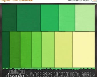 80% Off SALE Digital paper, Digital Scrapbook paper pack - Instant download - 12 Digital Papers - Vintage green cardstock