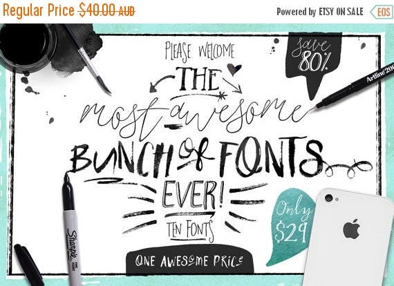 80% OFF Sale 80 Percent OFF Sale, Big Bunch of Fonts, hand drawn digital typeface bundle for typography, Brush, script, display