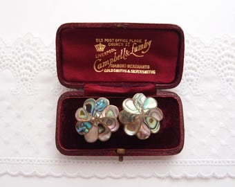 vintage Abalone Paua Shell Earrings inlaid brass Button flower round daisy cluster Iridescent Mother of Pearl Screw-back