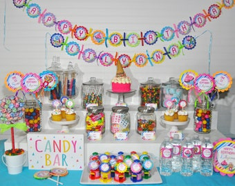Birthday BANNER Sweet Shoppe, 1st Birthday Banner, Rainbow Candy Party Decorations, Candy Land Birthday Party, Sweet Shop Party Sign