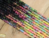 Dark Dreams SE x12 Crochet Synthetic Dreads - black pink blue yellow accent