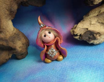 """Tiny 'Etta' Princess Gnome with jewels 1+1/2"""" by Sculpture Artist Ann Galvin Art Doll"""