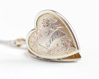 Monogrammed Ethel Locket - WWII 1940s Vintage Sterling Silver Heart Necklace - Mid Century Etched Sweetheart Pendant Keepsake Photo Jewelry