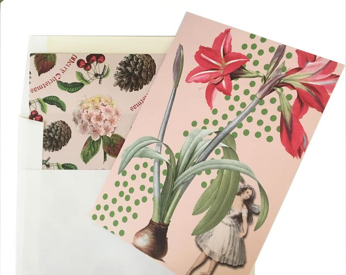 Christmas no longer available! Don't miss the Spring Collection coming soon! Fairy Christmas Card Pink Green Amaryllis Peppermint Scented