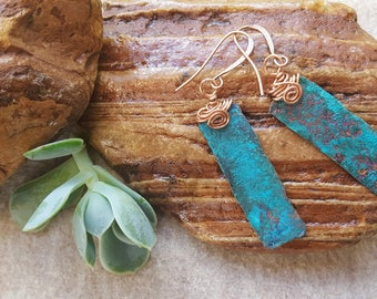 Blue Patina Copper Earrings - Blue Rectangle Earrings - Copper Earrings - Boho Earrings - Patina Earrings - Copper Patina - Gift for her