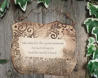 Handmade Spiritual Quote Ceramic Plaque