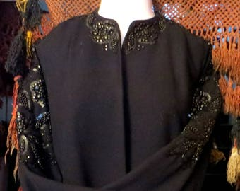 40s Beaded/Sequinned Black Wool Coat