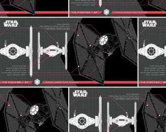 Star Wars  TIE Fighter Ships Black #409-1 Quilt Fabric by the 1/2 yard