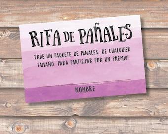 Diaper Raffle Spanish Morado Rifa de Pañales Tarjetas Baby Shower Niña Violeta Purple Ombre Sorteo Boletas Rifa Pañales - INSTANT DOWNLOAD